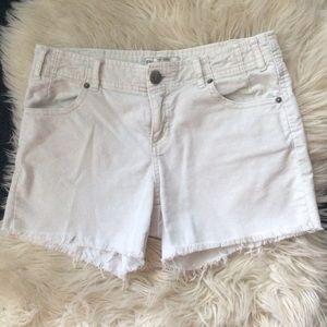 Free people white corduroy raw fringed hem shorts